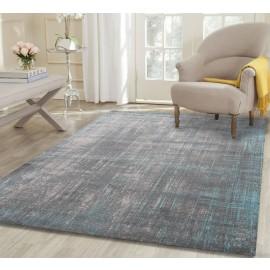 AquaSilk Grey And Blue Horizontal Vertical Washed Stripes