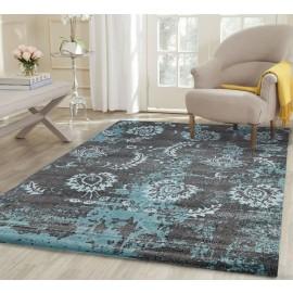 AquaSilk Grey And Blue Floral Pattern Rug