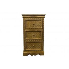 Full Brass Ftd Bedside 3 Drawer