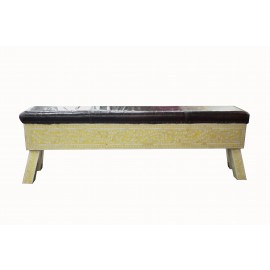 Leather with bone inlay bench