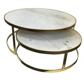 White Marble Moon Coffee Table
