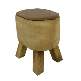 Leather Canvas Stool