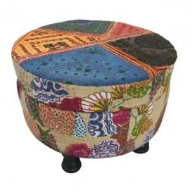 Mixed Fabric Ottoman /Storage