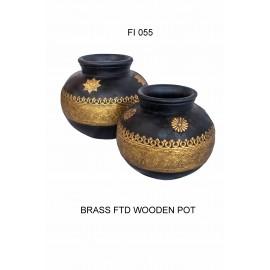 Brass and Wood Pot Set 3